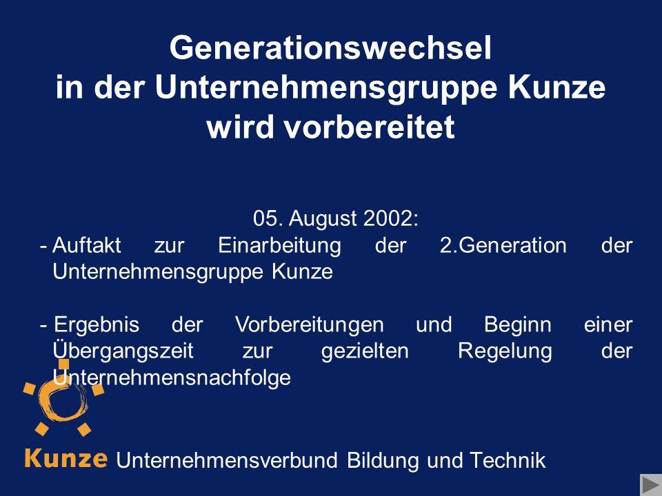 Generationswechsel in der Unternehmensgruppe Kunze wird vorbereitet - - Der beste Weg zur Einarbeitung ist die Übernahme von Verantwortung.