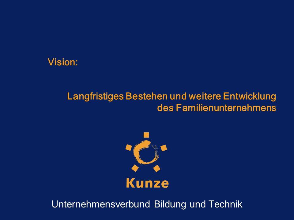 Vision: Langfristiges Bestehen und weitere Entwicklung des Familienunternehmens Unternehmensverbund Bildung und Technik