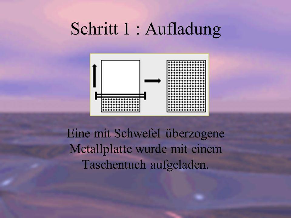 Schritt 1 : Aufladung Eine mit Schwefel überzogene Metallplatte wurde mit einem Taschentuch aufgeladen.
