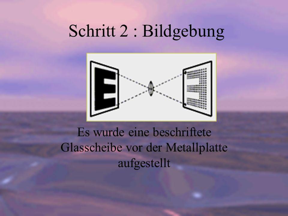 Schritt 2 : Bildgebung Es wurde eine beschriftete Glasscheibe vor der Metallplatte aufgestellt
