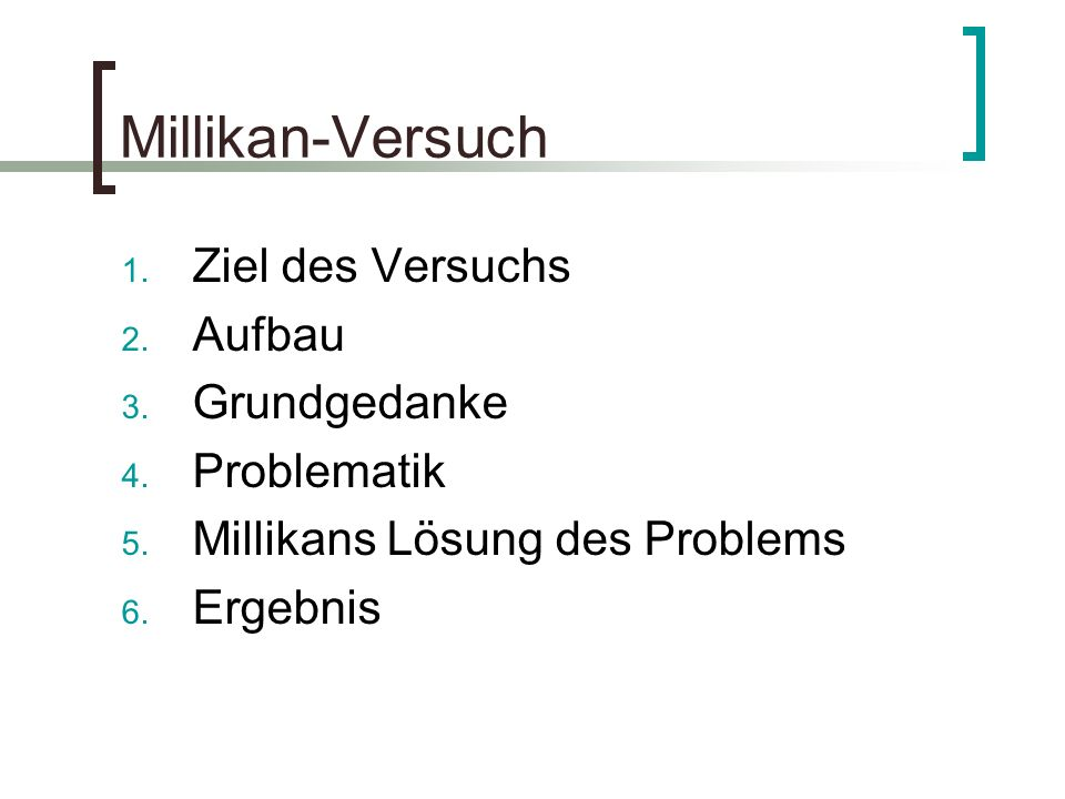 Millikan-Versuch 1. Ziel des Versuchs 2. Aufbau 3. Grundgedanke 4. Problematik 5. Millikans Lösung des Problems 6. Ergebnis