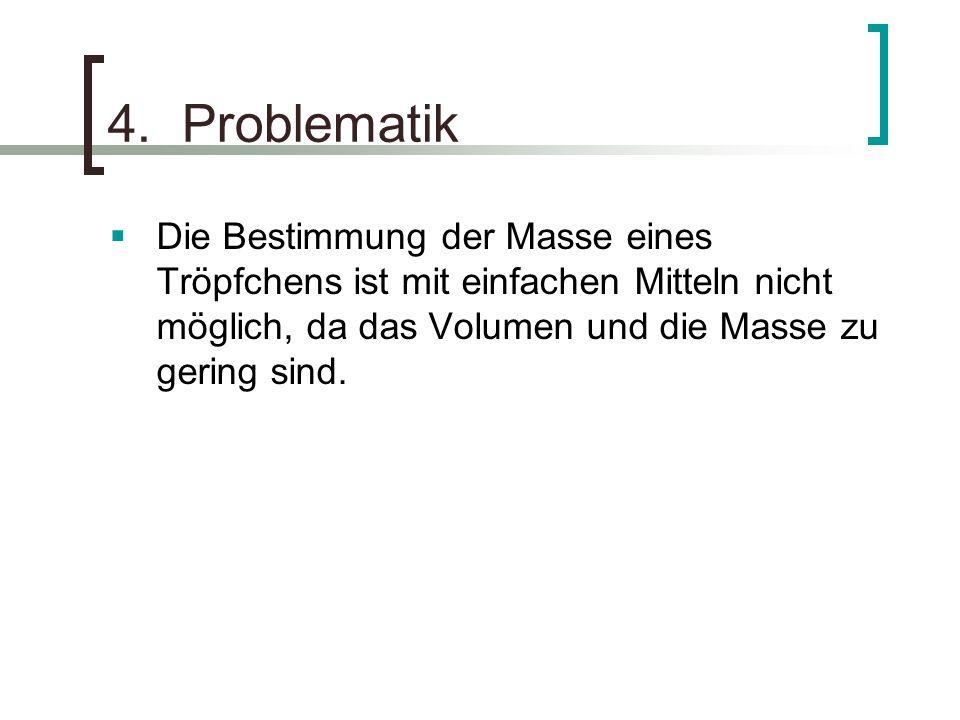 4. Problematik Die Bestimmung der Masse eines Tröpfchens ist mit einfachen Mitteln nicht möglich, da das Volumen und die Masse zu gering sind.