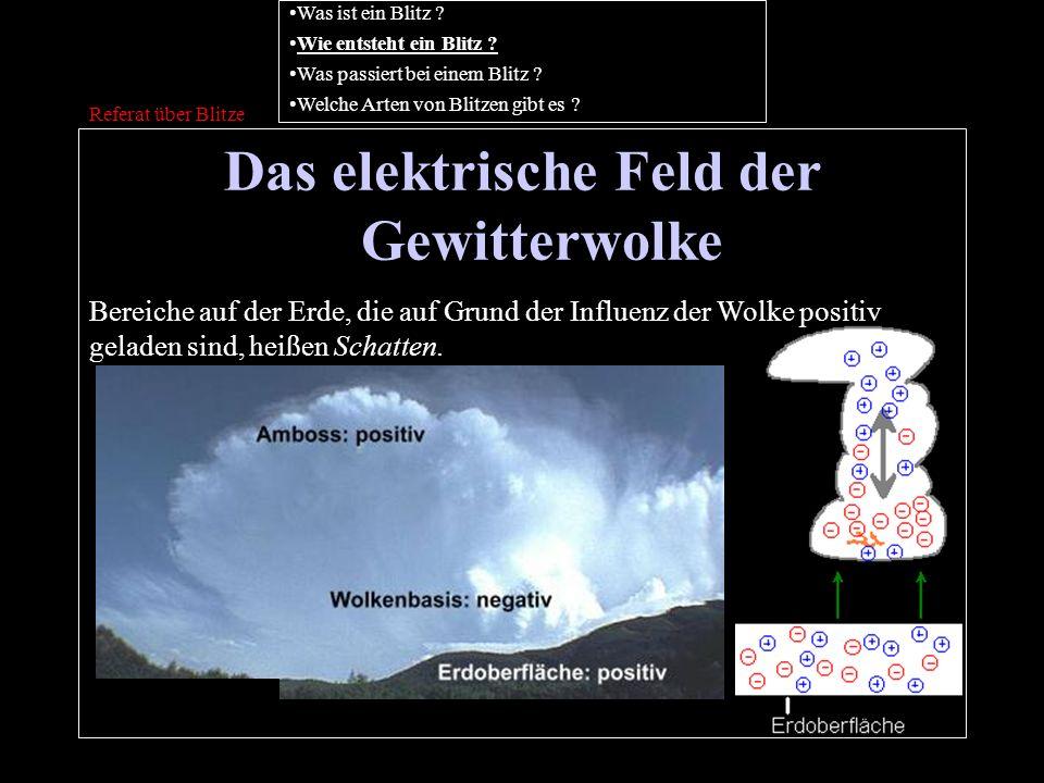 Das elektrische Feld der Gewitterwolke Referat über Blitze Bereiche auf der Erde, die auf Grund der Influenz der Wolke positiv geladen sind, heißen Sc