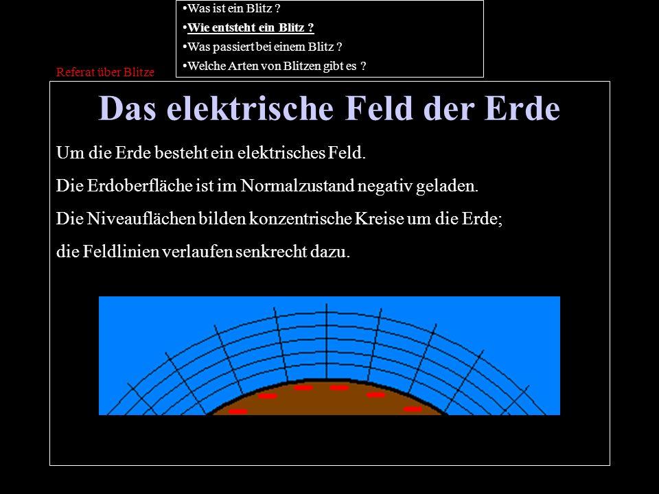 Das elektrische Feld der Erde Referat über Blitze Um die Erde besteht ein elektrisches Feld. Die Erdoberfläche ist im Normalzustand negativ geladen. D