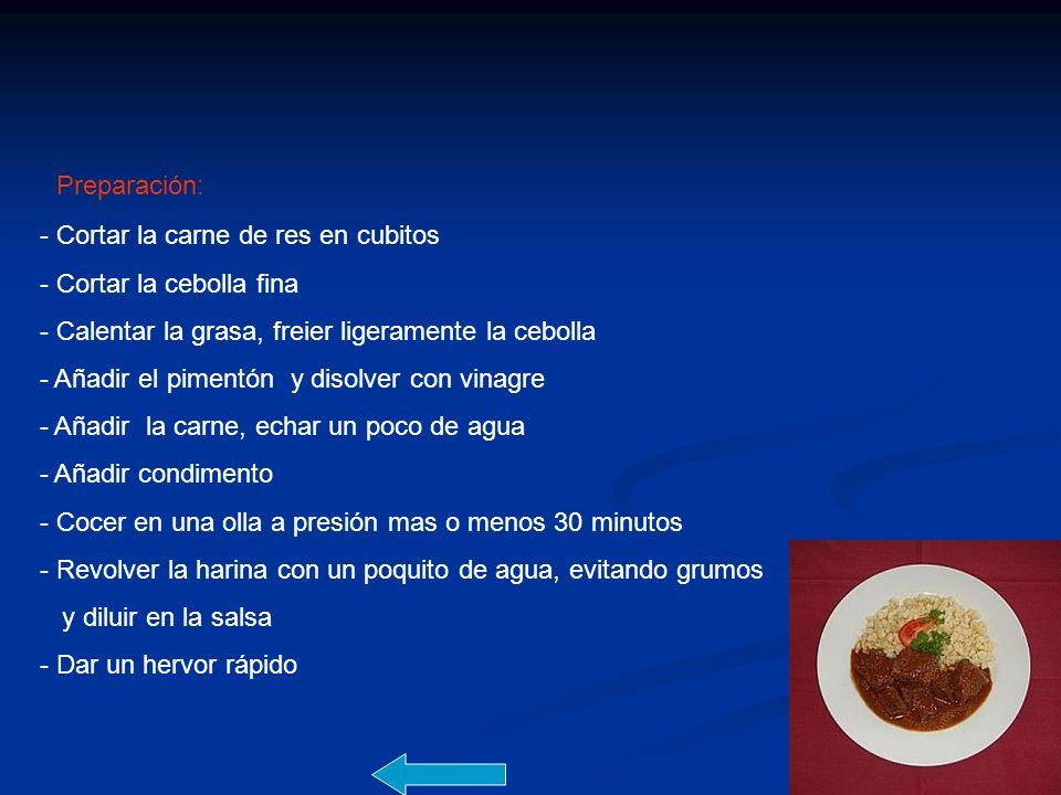 Preparación: - Cortar la carne de res en cubitos - Cortar la cebolla fina - Calentar la grasa, freier ligeramente la cebolla - Añadir el pimentón y di