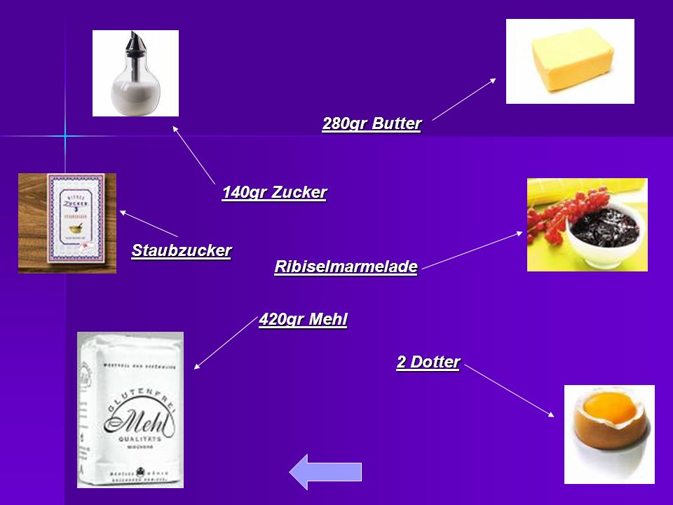 420gr Mehl 280gr Butter 140gr Zucker 2 Dotter Ribiselmarmelade Staubzucker