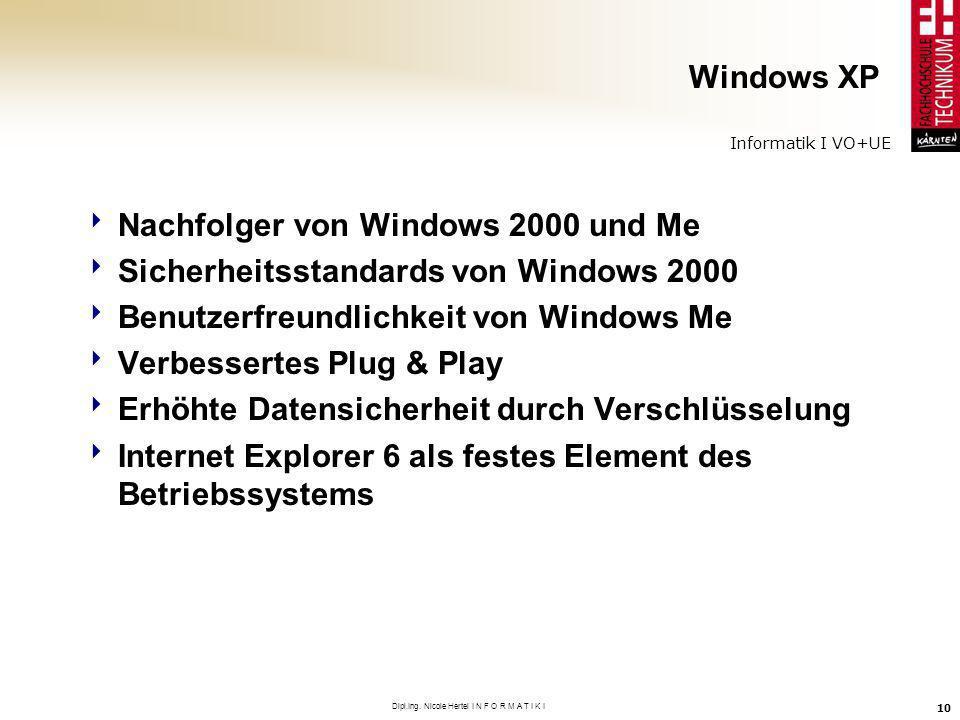 Informatik I VO+UE Dipl.Ing. Nicole Hertel I N F O R M A T I K I 10 Windows XP Nachfolger von Windows 2000 und Me Sicherheitsstandards von Windows 200