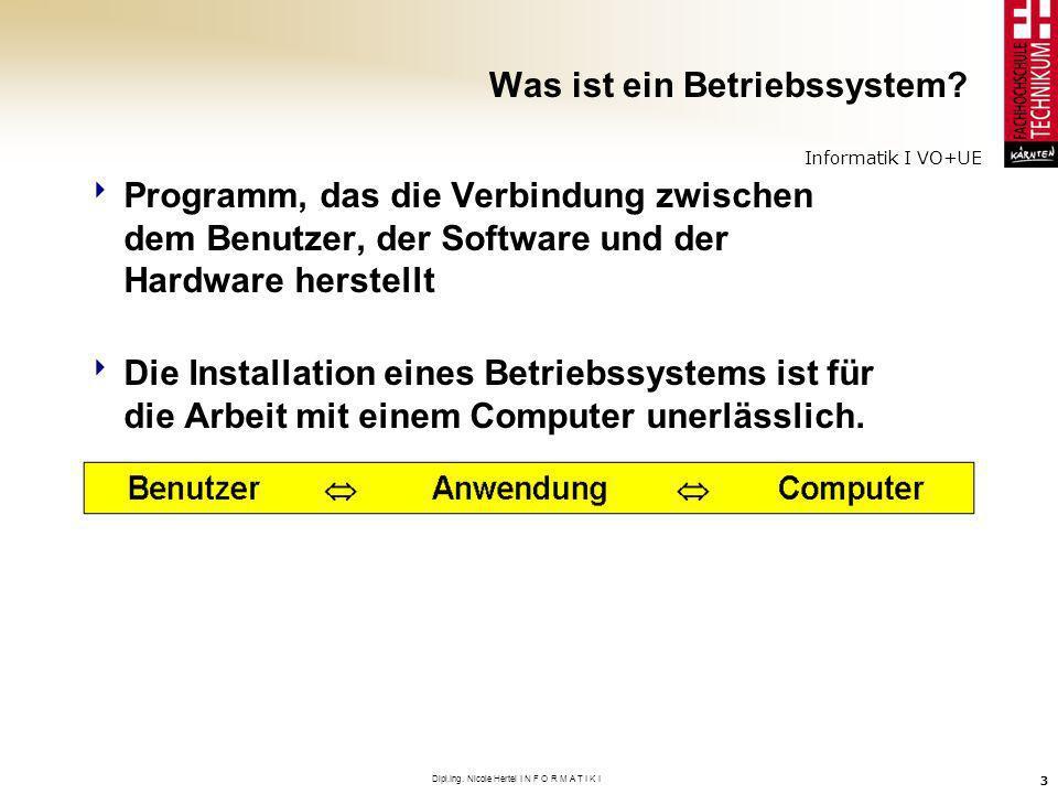 Informatik I VO+UE Dipl.Ing. Nicole Hertel I N F O R M A T I K I 3 Was ist ein Betriebssystem? Programm, das die Verbindung zwischen dem Benutzer, der