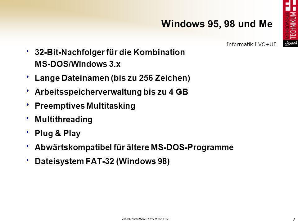 Informatik I VO+UE Dipl.Ing. Nicole Hertel I N F O R M A T I K I 7 Windows 95, 98 und Me 32-Bit-Nachfolger für die Kombination MS-DOS/Windows 3.x Lang