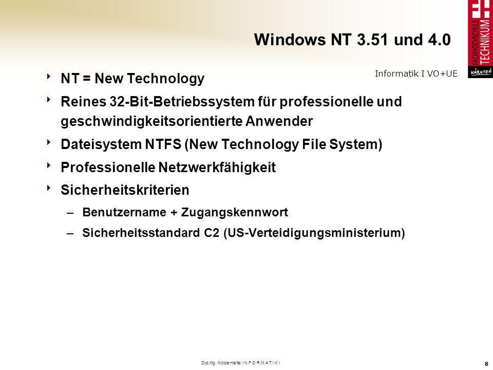 Informatik I VO+UE Dipl.Ing. Nicole Hertel I N F O R M A T I K I 8 Windows NT 3.51 und 4.0 NT = New Technology Reines 32-Bit-Betriebssystem für profes