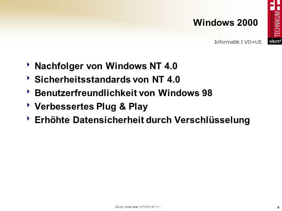 Informatik I VO+UE Dipl.Ing. Nicole Hertel I N F O R M A T I K I 9 Windows 2000 Nachfolger von Windows NT 4.0 Sicherheitsstandards von NT 4.0 Benutzer