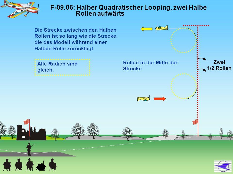 F-09.06: Halber Quadratischer Looping, zwei Halbe Rollen aufwärts Alle Radien sind gleich. Rollen in der Mitte der Strecke Zwei 1/2 Rollen Die Strecke