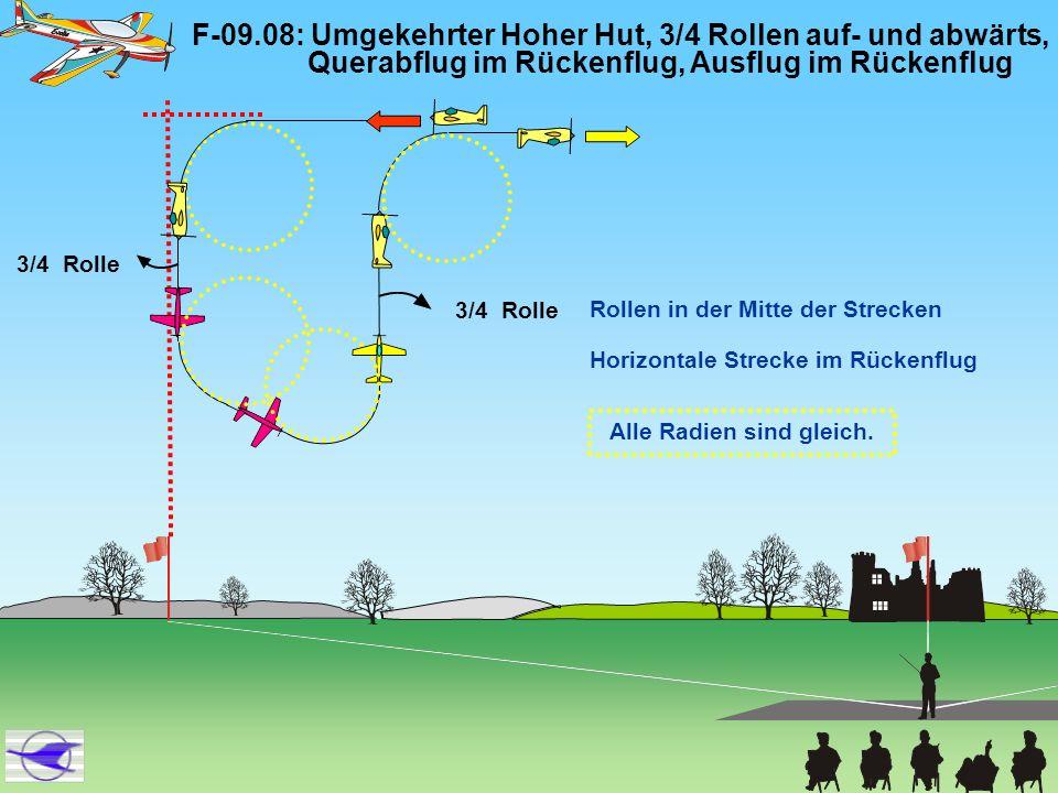 F-09.08: Umgekehrter Hoher Hut, 3/4 Rollen auf- und abwärts, Querabflug im Rückenflug, Ausflug im Rückenflug 3/4 Rolle Alle Radien sind gleich. 3/4 Ro