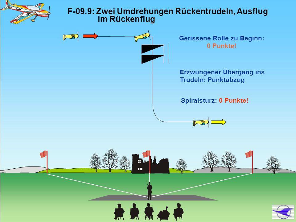 F-09.9: Zwei Umdrehungen Rückentrudeln, Ausflug im Rückenflug Gerissene Rolle zu Beginn: 0 Punkte! Erzwungener Übergang ins Trudeln: Punktabzug Spiral