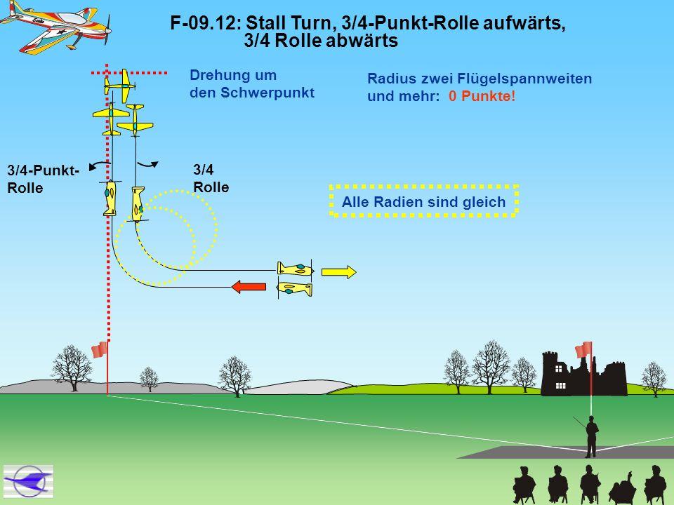 F-09.12: Stall Turn, 3/4-Punkt-Rolle aufwärts, 3/4 Rolle abwärts 3/4-Punkt- Rolle 3/4 Rolle Drehung um den Schwerpunkt Radius zwei Flügelspannweiten u