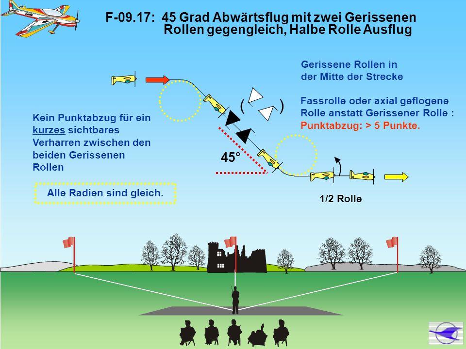 F-09.17: 45 Grad Abwärtsflug mit zwei Gerissenen Rollen gegengleich, Halbe Rolle Ausflug 45° Alle Radien sind gleich. Gerissene Rollen in der Mitte de