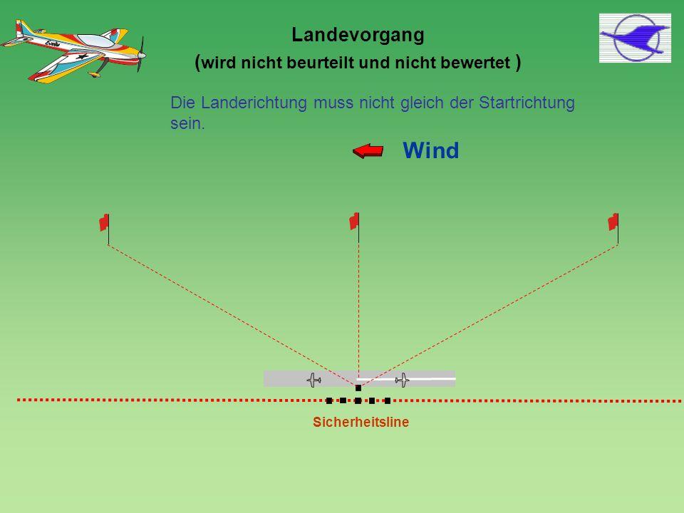 Sicherheitsline Wind 4 Die Landerichtung muss nicht gleich der Startrichtung sein. Landevorgang ( wird nicht beurteilt und nicht bewertet )