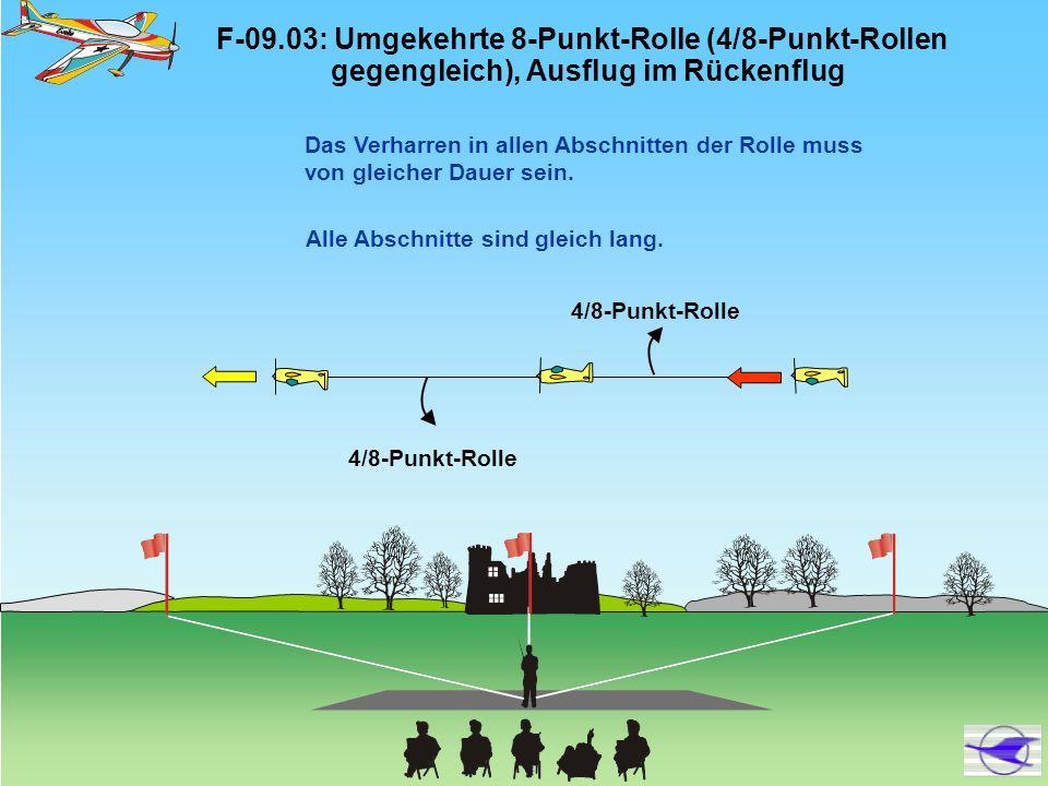 F-09.12: Stall Turn, 3/4-Punkt-Rolle aufwärts, 3/4 Rolle abwärts 3/4-Punkt- Rolle 3/4 Rolle Drehung um den Schwerpunkt Radius zwei Flügelspannweiten und mehr: 0 Punkte.
