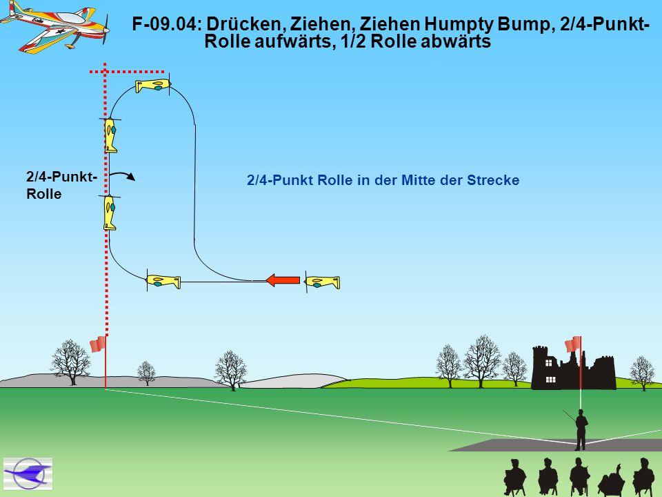 F-09.04: Drücken, Ziehen, Ziehen Humpty Bump, 2/4-Punkt- Rolle aufwärts, 1/2 Rolle abwärts 2/4-Punkt Rolle in der Mitte der Strecke 2/4-Punkt- Rolle