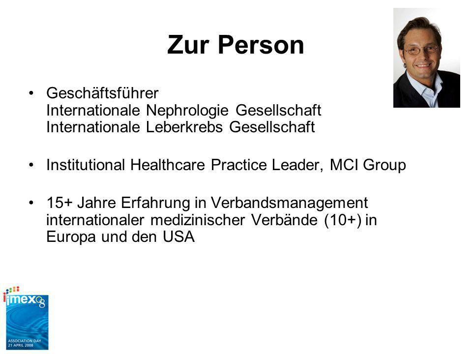 Zur Person Geschäftsführer Internationale Nephrologie Gesellschaft Internationale Leberkrebs Gesellschaft Institutional Healthcare Practice Leader, MCI Group 15+ Jahre Erfahrung in Verbandsmanagement internationaler medizinischer Verbände (10+) in Europa und den USA