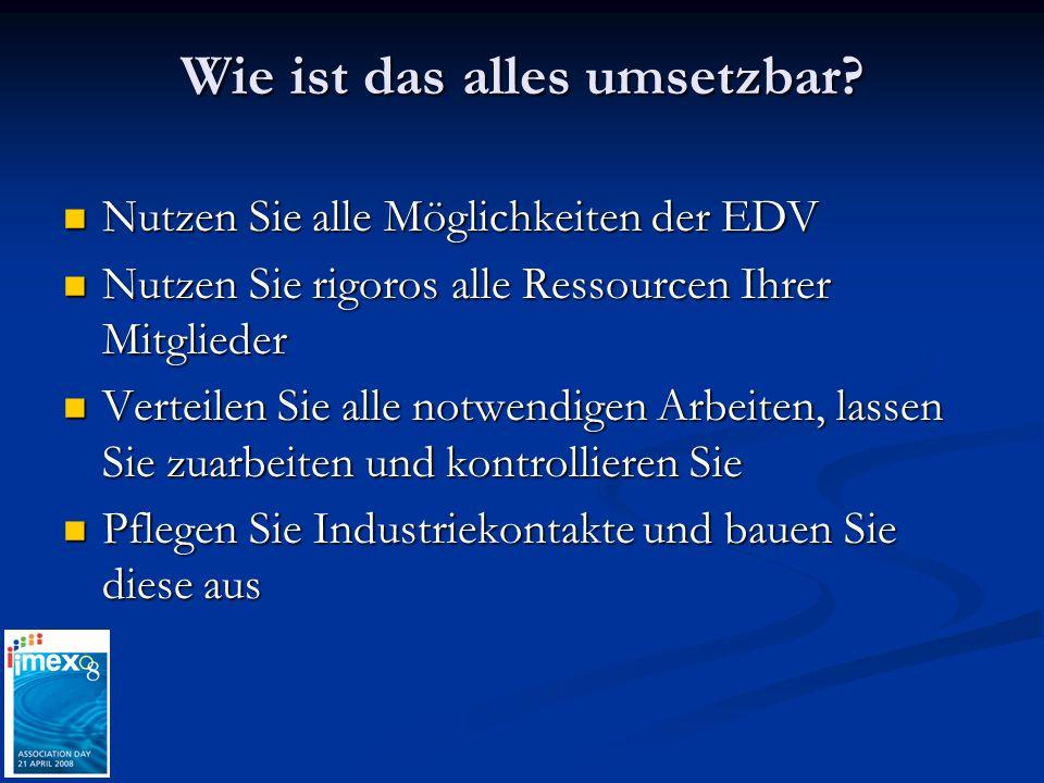 Wie ist das alles umsetzbar? Nutzen Sie alle Möglichkeiten der EDV Nutzen Sie alle Möglichkeiten der EDV Nutzen Sie rigoros alle Ressourcen Ihrer Mitg