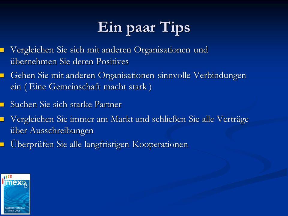 Ein paar Tips Vergleichen Sie sich mit anderen Organisationen und übernehmen Sie deren Positives Vergleichen Sie sich mit anderen Organisationen und ü