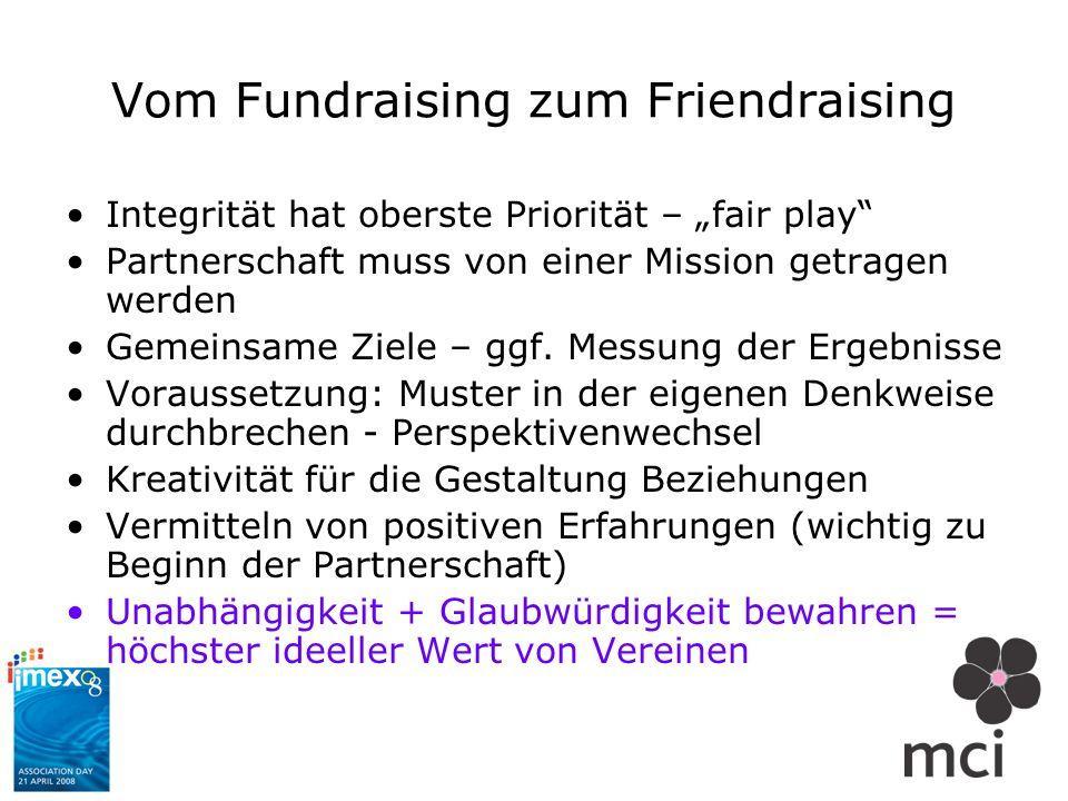 Vom Fundraising zum Friendraising Integrität hat oberste Priorität – fair play Partnerschaft muss von einer Mission getragen werden Gemeinsame Ziele –