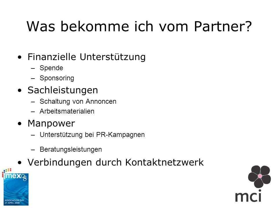 Was bekomme ich vom Partner? Finanzielle Unterstützung –Spende –Sponsoring Sachleistungen –Schaltung von Annoncen –Arbeitsmaterialien Manpower –Unters