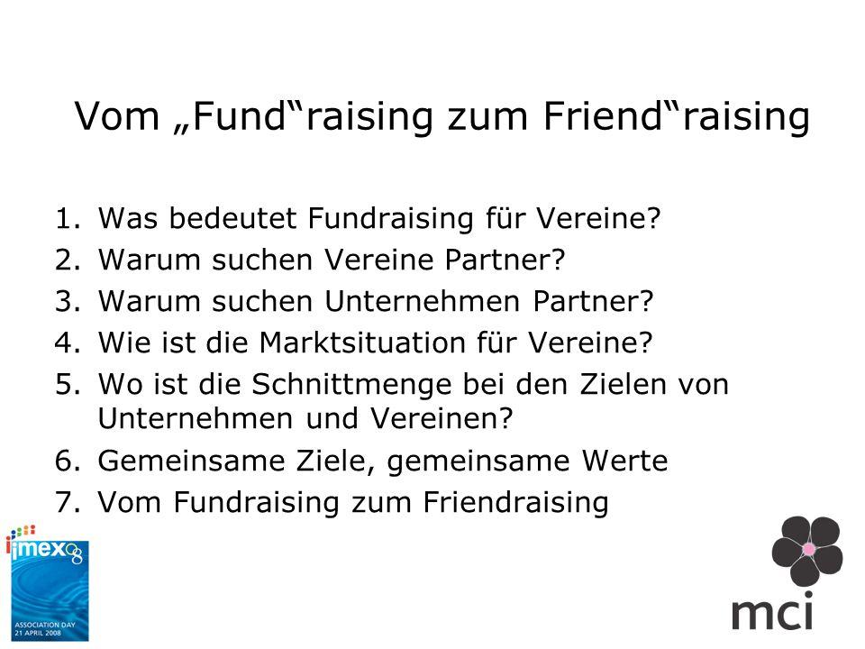 Vom Fundraising zum Friendraising 1.Was bedeutet Fundraising für Vereine? 2.Warum suchen Vereine Partner? 3.Warum suchen Unternehmen Partner? 4.Wie is