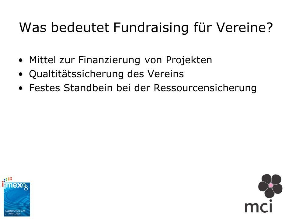 Was bedeutet Fundraising für Vereine? Mittel zur Finanzierung von Projekten Qualtitätssicherung des Vereins Festes Standbein bei der Ressourcensicheru
