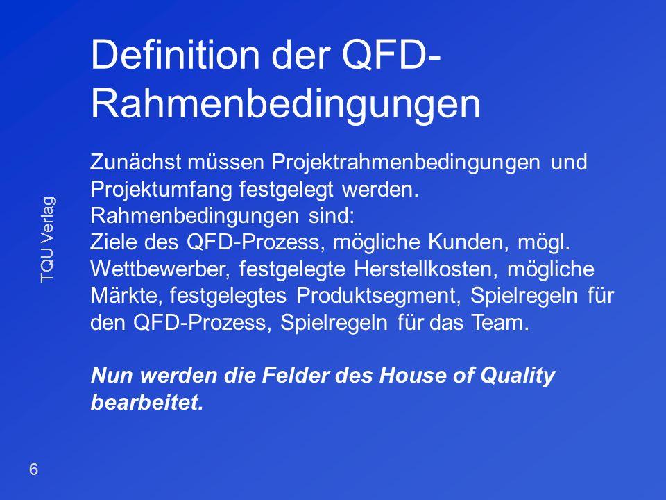 TQU Verlag 5 Beteiligte am QFD-Prozess Marketing Entwicklung / Konstruktion Fertigung Kundendienst Versuch Qualitätswesen Personen, die in die Wertsch