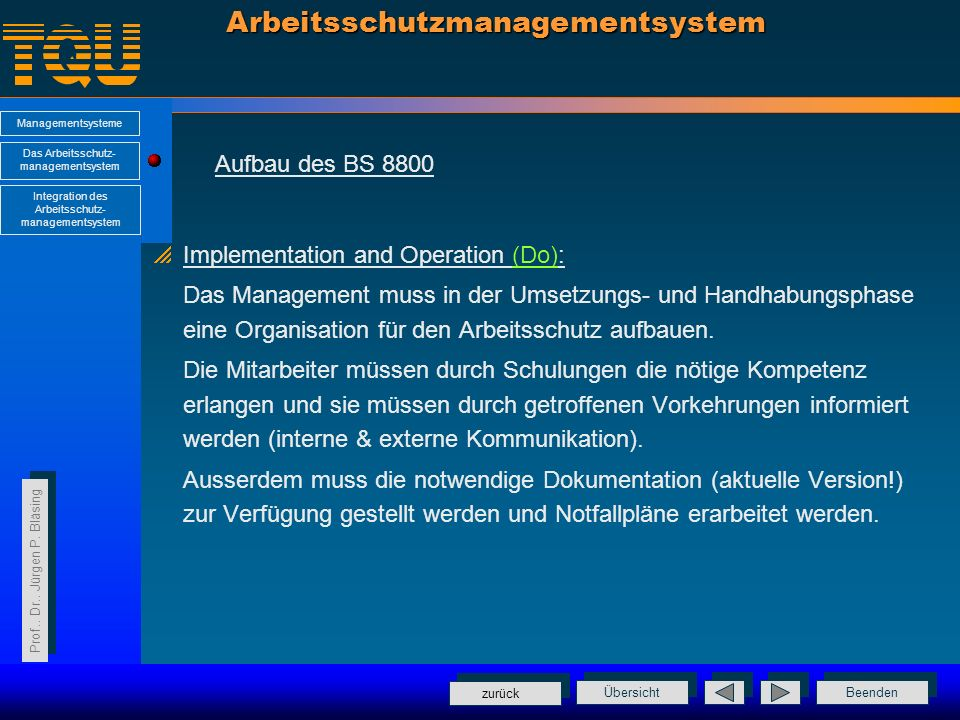 Beenden Übersicht Managementsysteme Das Arbeitsschutz- managementsystem Integration des Arbeitsschutz- managementsystem Prof.. Dr.. Jürgen P. Bläsing