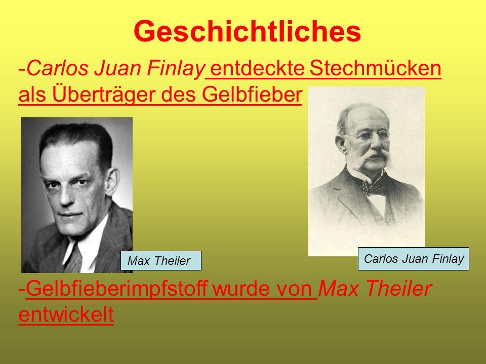 Geschichtliches -Carlos Juan Finlay entdeckte Stechmücken als Überträger des Gelbfieber -Gelbfieberimpfstoff wurde von Max Theiler entwickelt Max Thei