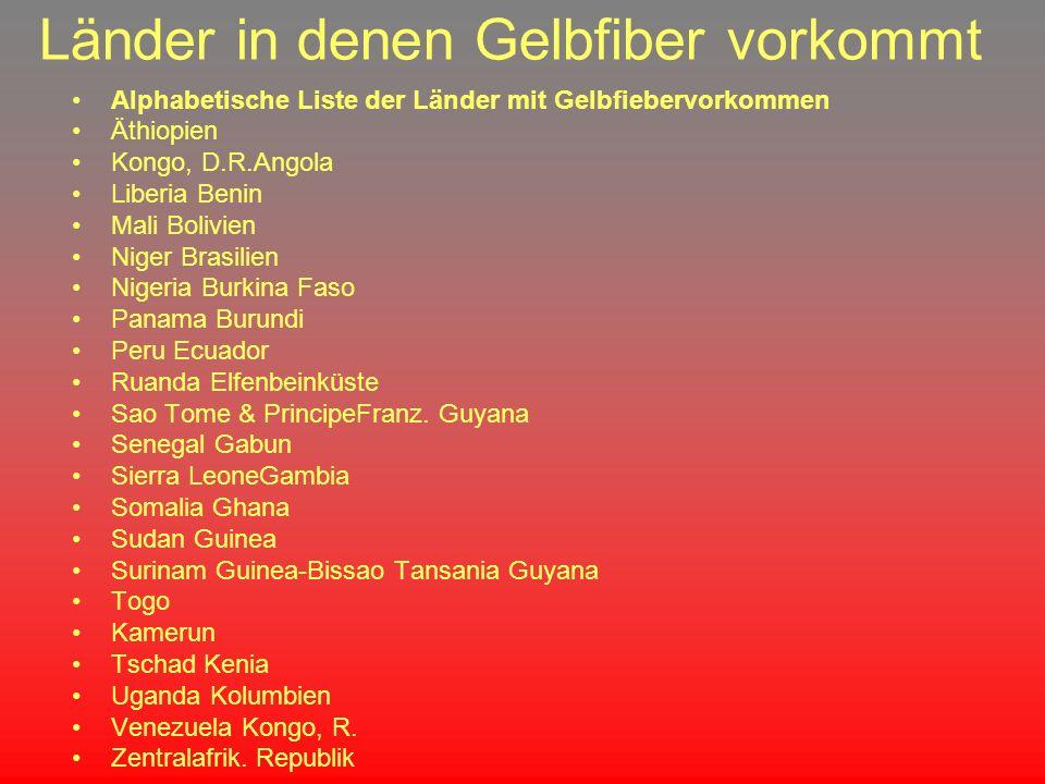 Länder in denen Gelbfiber vorkommt Alphabetische Liste der Länder mit Gelbfiebervorkommen Äthiopien Kongo, D.R.Angola Liberia Benin Mali Bolivien Nige