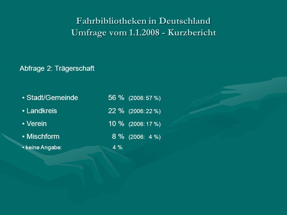 Fahrbibliotheken in Deutschland Umfrage vom 1.1.2008 - Kurzbericht Abfrage 2: Trägerschaft Stadt/Gemeinde56 % (2006: 57 %) Landkreis22 % (2006: 22 %) Verein10 % (2006: 17 %) Mischform 8 % (2006: 4 %) keine Angabe: 4 %