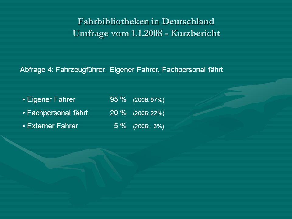 Fahrbibliotheken in Deutschland Umfrage vom 1.1.2008 - Kurzbericht Abfrage 4: Fahrzeugführer: Eigener Fahrer, Fachpersonal fährt Eigener Fahrer95 % (2006: 97%) Fachpersonal fährt20 % (2006: 22%) Externer Fahrer 5 % (2006: 3%)