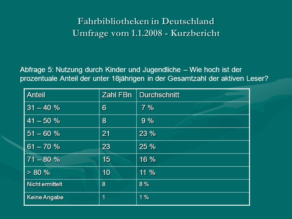 Fahrbibliotheken in Deutschland Umfrage vom 1.1.2008 - Kurzbericht Abfrage 5: Nutzung durch Kinder und Jugendliche – Wie hoch ist der prozentuale Anteil der unter 18jährigen in der Gesamtzahl der aktiven Leser.