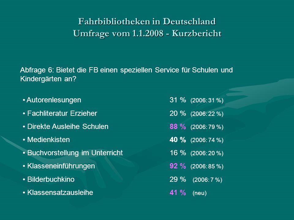 Fahrbibliotheken in Deutschland Umfrage vom 1.1.2008 - Kurzbericht Abfrage 6: Bietet die FB einen speziellen Service für Schulen und Kindergärten an.