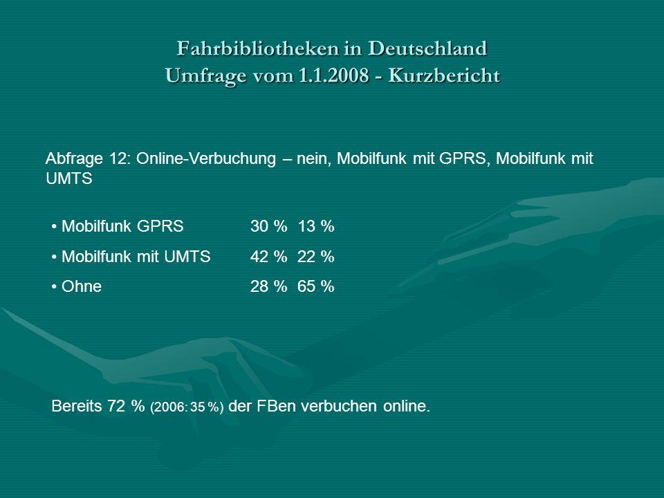 Fahrbibliotheken in Deutschland Umfrage vom 1.1.2008 - Kurzbericht Abfrage 12: Online-Verbuchung – nein, Mobilfunk mit GPRS, Mobilfunk mit UMTS Mobilfunk GPRS30 % 13 % Mobilfunk mit UMTS42 % 22 % Ohne 28 % 65 % Bereits 72 % (2006: 35 %) der FBen verbuchen online.