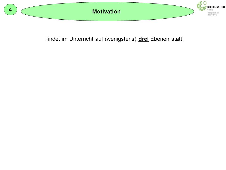 4 Motivation Inhaltliche Ebene: Lernerorientiert (Alter, Interesse) Schwerpunkte setzen Anwendbarkeit: Transfer wird integriert Didaktisch-methodische Ebene: z.B.