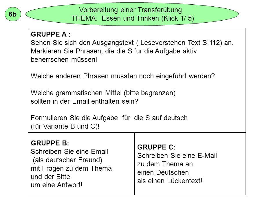 6b Vorbereitung einer Transferübung THEMA: Essen und Trinken (Klick 1/ 5) GRUPPE A : Sehen Sie sich den Ausgangstext ( Leseverstehen Text S.112) an.