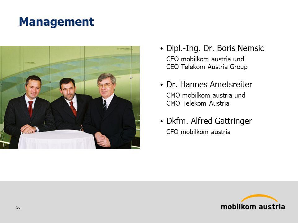 10 Management Dipl.-Ing. Dr. Boris Nemsic CEO mobilkom austria und CEO Telekom Austria Group Dr.
