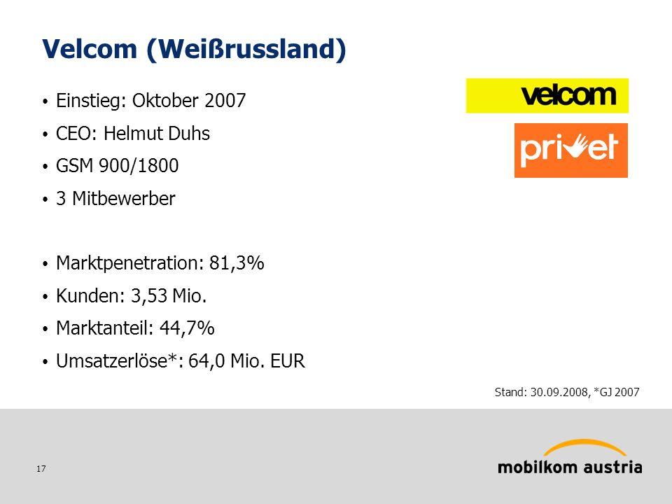 17 Velcom (Weißrussland) Einstieg: Oktober 2007 CEO: Helmut Duhs GSM 900/1800 3 Mitbewerber Marktpenetration: 81,3% Kunden: 3,53 Mio.