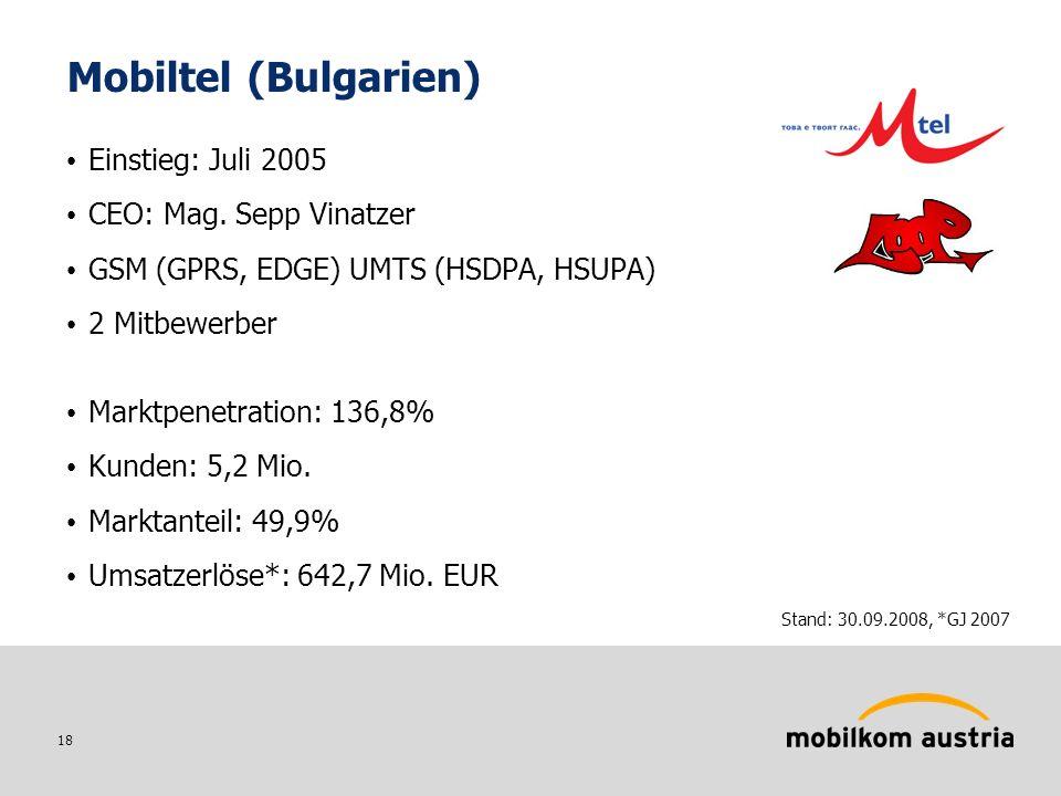 18 Mobiltel (Bulgarien) Einstieg: Juli 2005 CEO: Mag.