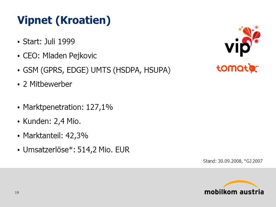 19 Vipnet (Kroatien) Start: Juli 1999 CEO: Mladen Pejkovic GSM (GPRS, EDGE) UMTS (HSDPA, HSUPA) 2 Mitbewerber Marktpenetration: 127,1% Kunden: 2,4 Mio.