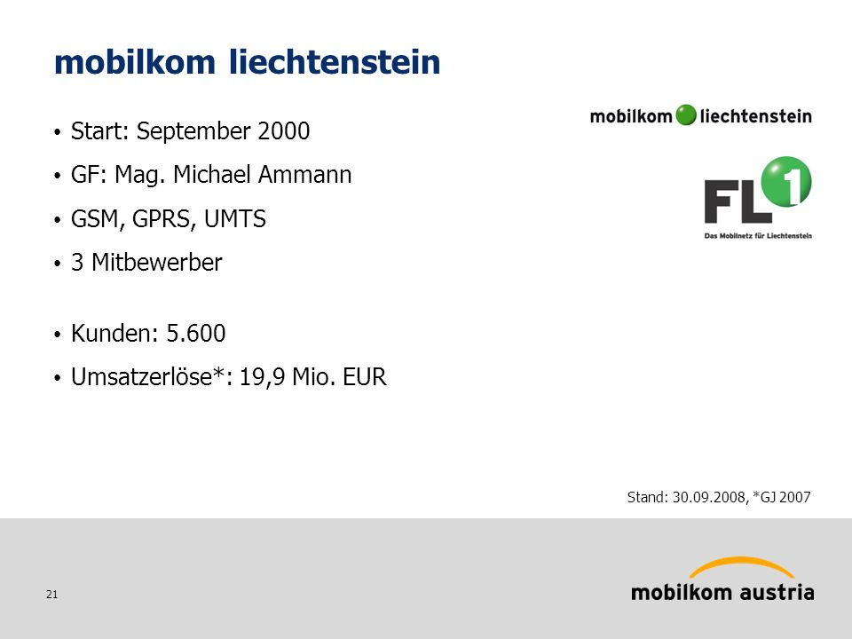 21 mobilkom liechtenstein Start: September 2000 GF: Mag.