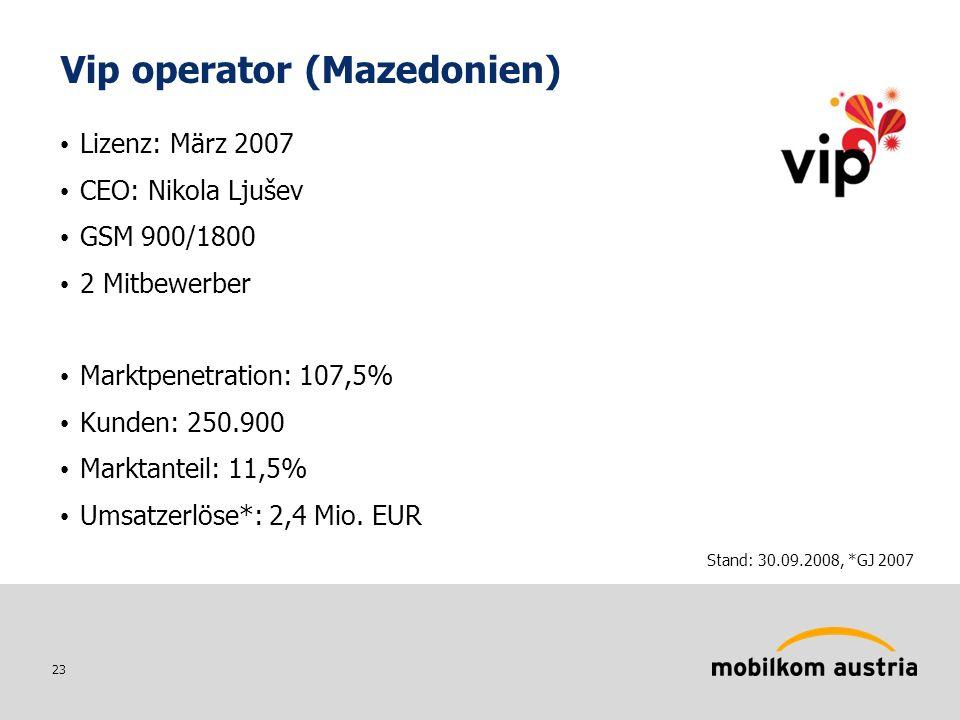 23 Vip operator (Mazedonien) Lizenz: März 2007 CEO: Nikola Ljušev GSM 900/1800 2 Mitbewerber Marktpenetration: 107,5% Kunden: 250.900 Marktanteil: 11,5% Umsatzerlöse*: 2,4 Mio.