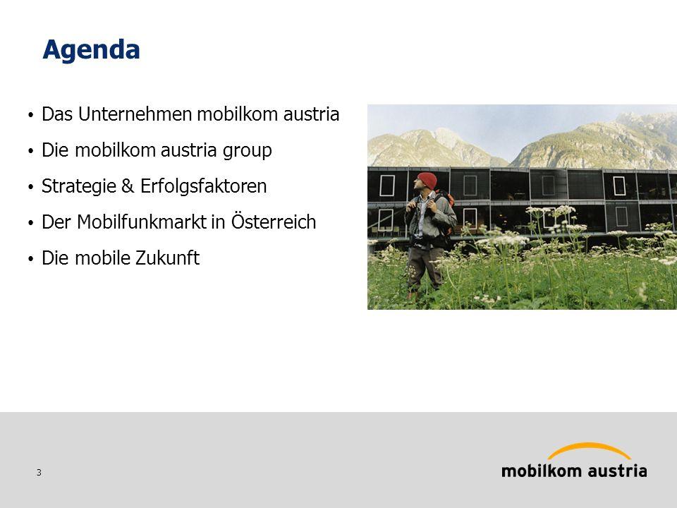 3 Agenda Das Unternehmen mobilkom austria Die mobilkom austria group Strategie & Erfolgsfaktoren Der Mobilfunkmarkt in Österreich Die mobile Zukunft