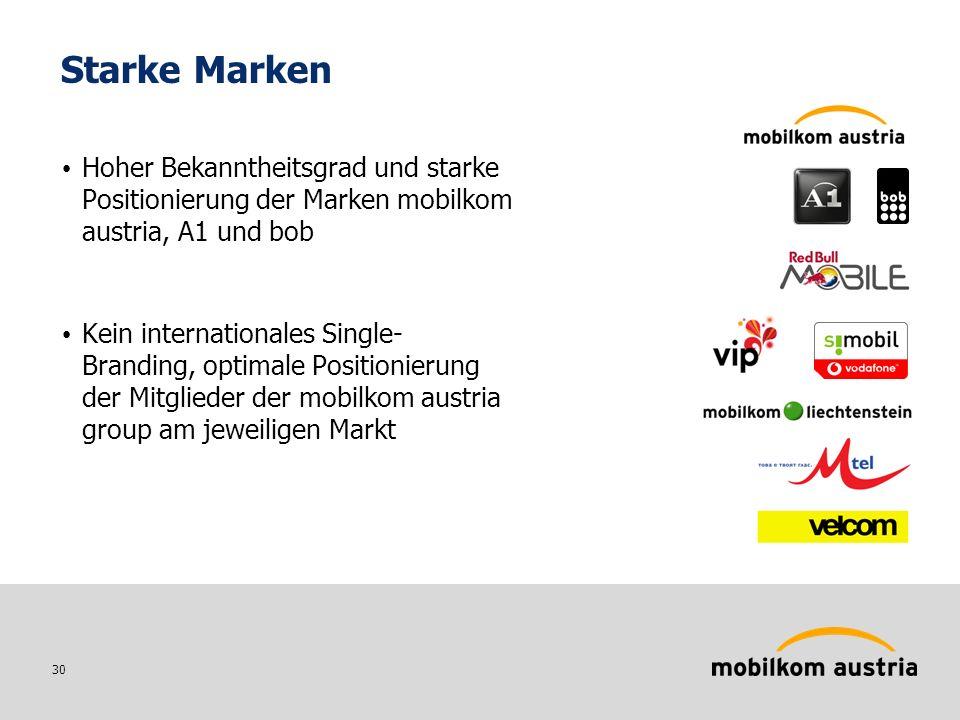 30 Starke Marken Hoher Bekanntheitsgrad und starke Positionierung der Marken mobilkom austria, A1 und bob Kein internationales Single- Branding, optimale Positionierung der Mitglieder der mobilkom austria group am jeweiligen Markt