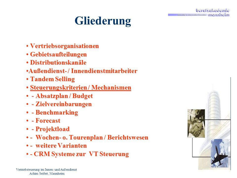 Vertriebsteuerung im Innen- und Außendienst Achim Seifert, Mannheim Gliederung Vertriebsorganisationen Gebietsaufteilungen Gebietsaufteilungen Distrib